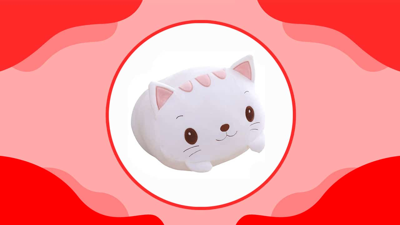 Cute White Cat Plush Body Pillow