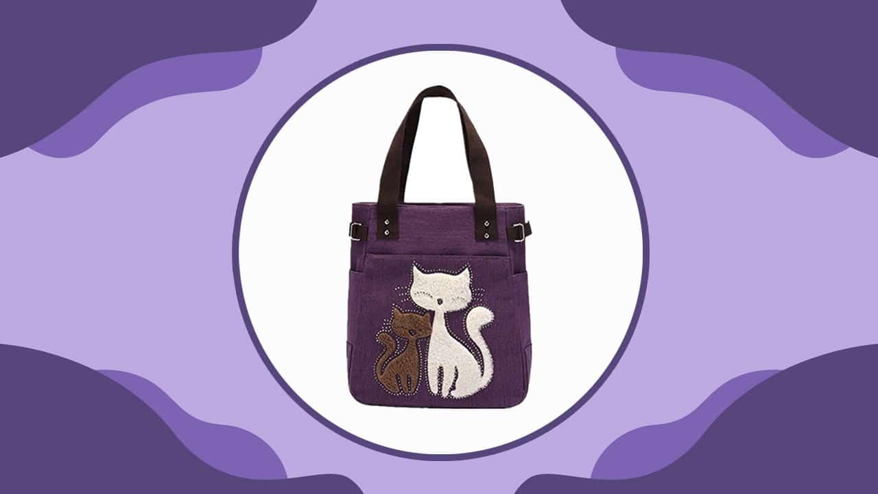 Purple Cat Multifunction Handbag