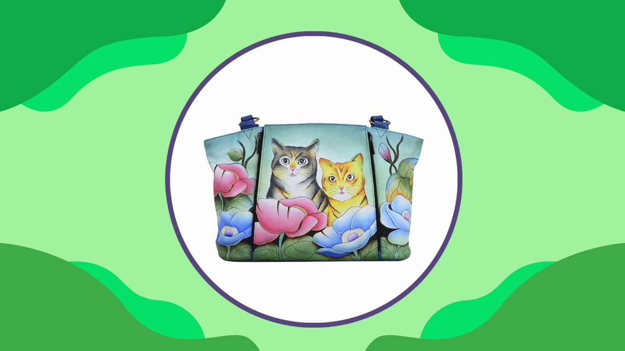 Realistic Cat Handbag with Anuschka Cat Artwork