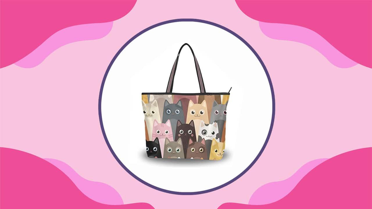 Cat Ladies Handbag with Peacock Pattern